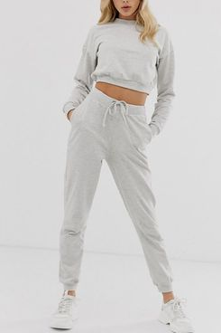 ASOS DESIGN tracksuit cropped sweat / slim jogger with tie