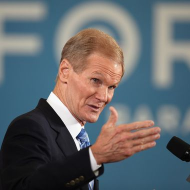 BOCA RATON, FL - SEPTEMBER 28:  U.S. Sen. Bill Nelson (D-FL) speaks before the arrival of U.S. Vice President Joe Biden during  a campaign event at the Century Village Clubhouse on September 28, 2012 in Boca Raton, Florida. Biden continues to campaign across the country before the general election. (Photo by Joe Raedle/Getty Images)