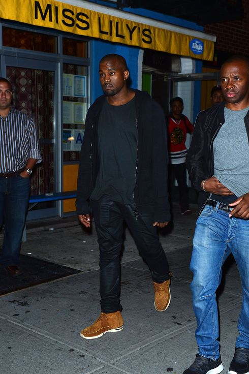 Kayne West leaves his birthday party at Miss Lily's on June 8, 2013 in New York City.