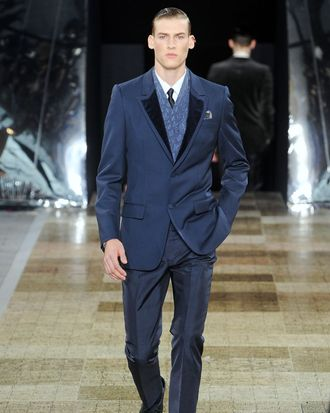 A look from British designer Kim Jones's fall 2012 men's Louis Vuitton collection.