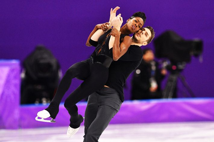 French figure skaters Vanessa James and Morgan Cipres.