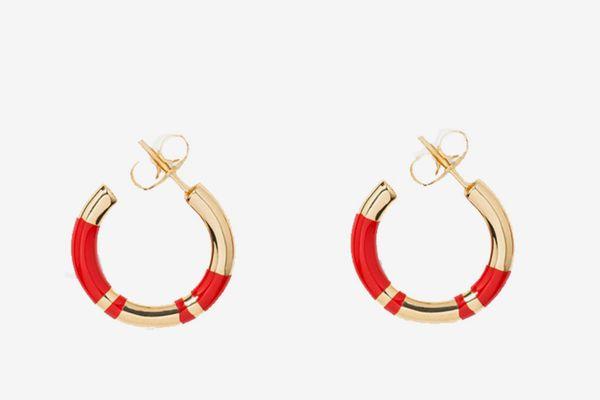 Aurelie Bidermann Mini Hoops in Red
