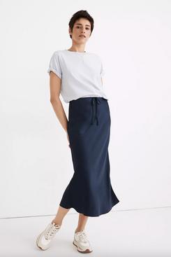 Madewell Drawstring Midi Slip Skirt