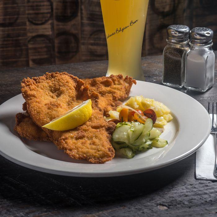 Werkstatt's chicken schnitzel is one of four schnitzels chef Thomas Ferlesch will cook.
