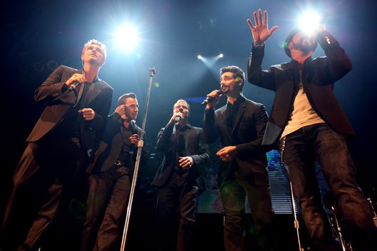 HOLLYWOOD, CA - APRIL 25:  (L-R) Singers Nick Carter, Howie Dorough, Brian Littrel, Kevin Richardson, and AJ McLean of the Backstreet Boys perform onstage during the Second Annual Hilarity For Charity benefiting The Alzheimer's Association at the Avalon on April 25, 2013 in Hollywood, California.  (Photo by Chelsea Lauren/Getty Images for Hilarity for Charity)