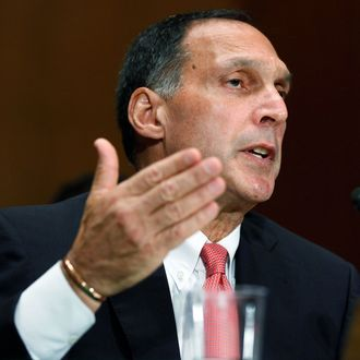 Lehman Brothers former Chairman and CEO Richard Fuld testifies before the Financial Crisis Inquiry Commission about the roots and causes of the 2008 financial and banking meltdown in U.S. and worldwide markets on Capitol Hill September 1, 2010 in Washington, DC. The commission begins two days of questioning about how two specific financial companies, Wacovia and Lehman Brothers, failed and why some institutions were considered