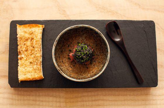 Milk bread with toro and caviar
