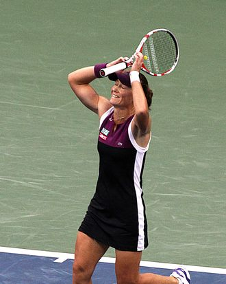 Samantha Stosur of Australia celebrates match point during her women's finals match against Serena Williams of the US at the 2011 US Open tennis tournament September 11, 2011 in New York. Samantha Stosur stunned three-time champion Serena Williams 6-2, 6-3 to win the US Open, claiming the first Grand Slam title of her career in a stormy final. AFP PHOTO/DON EMMERT (Photo credit should read DON EMMERT/AFP/Getty Images)