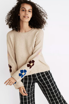 Madewell Belmore Floral-Sleeve Pullover Sweater in Coziest Textured Yarn
