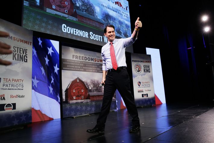 Wisconsin Gov. Scott Walker gestures after speaking at the Freedom Summit, Saturday, Jan. 24, 2015, in Des Moines, Iowa.