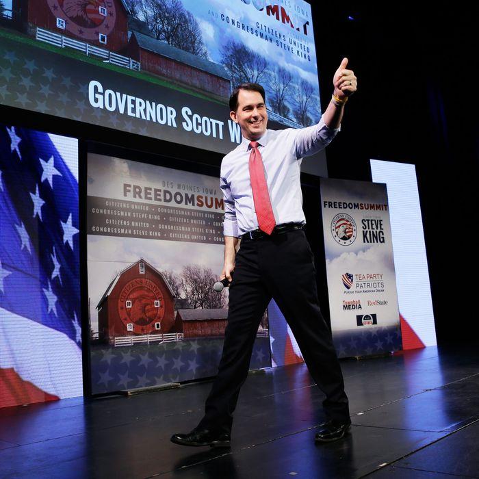 Wisconsin Gov. Scott Walker gestures after speaking at the Freedom Summit, Saturday, Jan. 24, 2015, in Des Moines, Iowa.