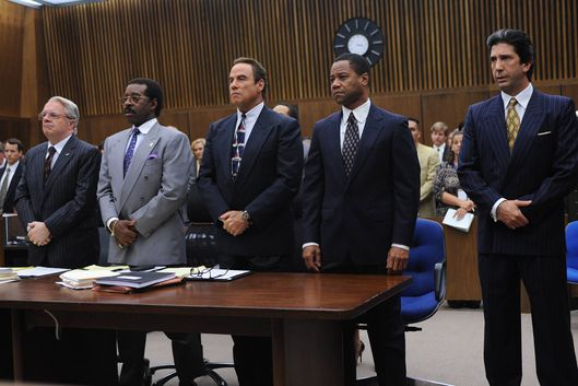 "THE PEOPLE v. O.J. SIMPSON: AMERICAN CRIME STORY ""100% Not Guilty"" Episode 104 (Airs Tuesday, February 23, 10:00 pm/ep) -- Pictured: (l-r) Nathan Lane as F. Lee Bailey, Courtney B. Vance as Johnnie Cochran, John Travolta as Robert Shapiro, Cuba Gooding, Jr. as O.J. Simpson, David Schwimmer as Robert Kardashian. CR: Ray Mickshaw/FX"