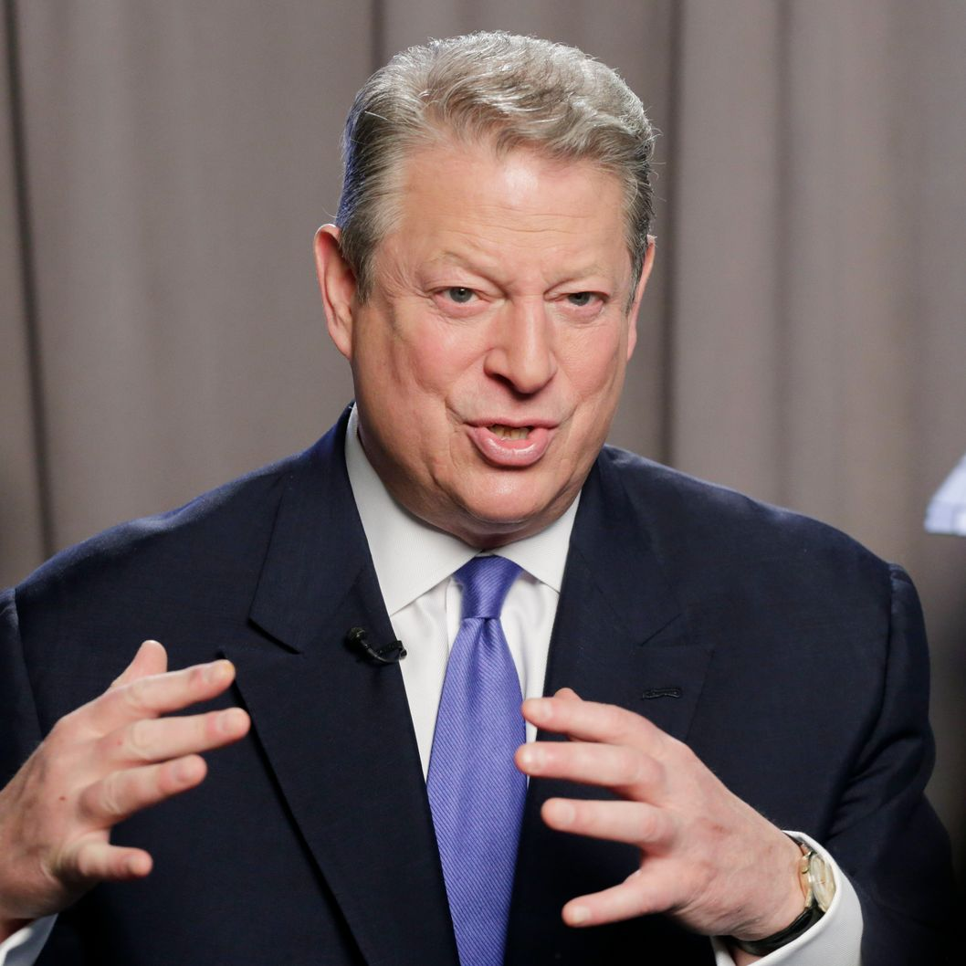 "Former U.S. Vice President Al Gore talks during an interview, Tuesday, Jan. 29, 2013 in New York. Gore has recently published a book, ""The Future: Six Drivers of Global Change."" Gore, who takes aim in his new book at the corporate media for ""suffocating the free flow of ideas,"" on Tuesday defended the sale of his own television channel to Al-Jazeera. (AP Photo/Mark Lennihan)"