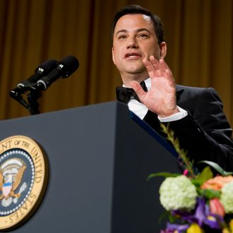 Comedian Jimmy Kimmel delivers remarks at the 2012 White House Correspondents' Association Dinner held at the Washington Hilton on April 28, 2012 in Washington, DC. This was the 98th annual dinner and was hosted by Jimmy Kimmel.