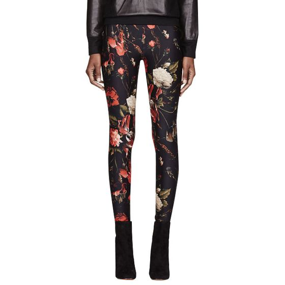 "Red and black floral-print leggings, <a href=""http://www.ssense.com/women/product/givenchy/red_and_black_floral_print_leggings/84844?utm_source=2178999&utm_medium=affiliate&utm_campaign=generic&utm_term=11131141"">$556, originally $795</a>."