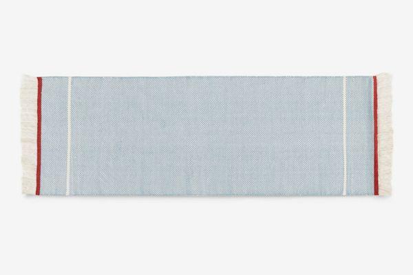 Made.com Elke Wool Flat Woven Runner 66 x 200 cm., Zen Blue