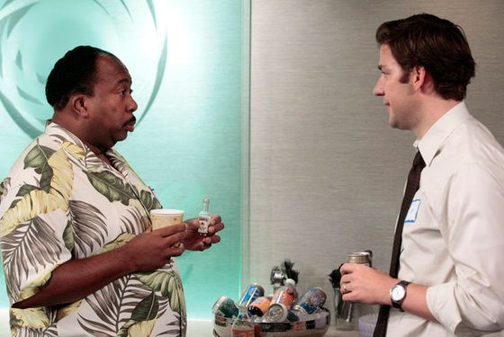 "THE OFFICE -- ""Tallahassee"" Episode 815 -- Pictured: (l-r) Leslie David Baker as Stanley Hudson, John Krasinski as Jim Halpert -- Photo by: Chris Haston/NBC"