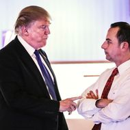 Donald Trump speaks with Reince Priebus