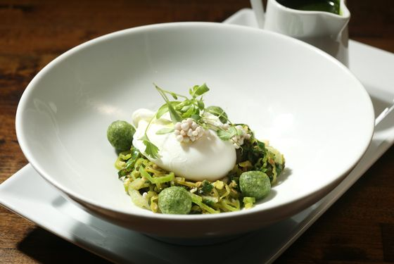 Kale (kale-matzo-ball soup with poached egg and okra).