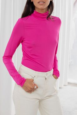 Ladies fashion navy plus size long sleeve turtle neck fitted rib sweater top