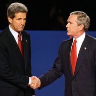 TEMPE, AZ - OCTOBER 13: U.S. President George W. Bush (R) and Democratic presidential candidate Sen. John Kerry (D-MA) shake hands before the start of a 90-minute debate on the campus of Arizona State University October 13, 2004 in Tempe, Arizona. Tonight's debate is the last of three scheduled before the November 2 election and will focus on domestic issues.  (Photo by Joe Raedle/Getty Images)