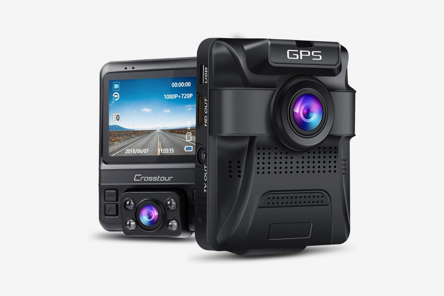 """Crosstour Dual Lens Dash Cam with Built-in GPS, 1080p Front and 720p Inside with Parking Monitoring, Infrared Night Vision, 2.4"""" Screen"""