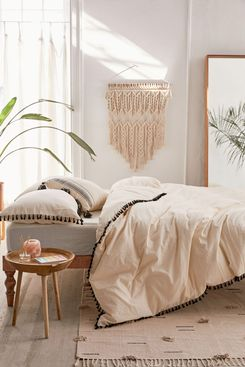 Washed Cotton Tassel Duvet Cover, Full/Queen