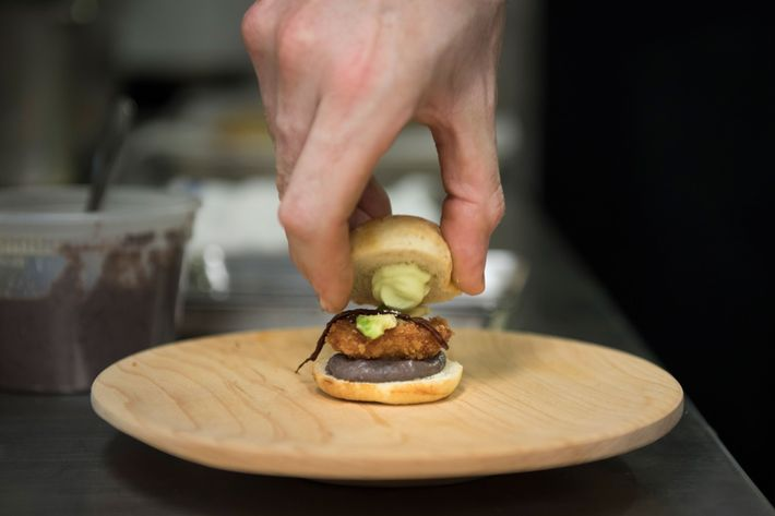 Mini Pueblan-style sandwich with fried abalone.