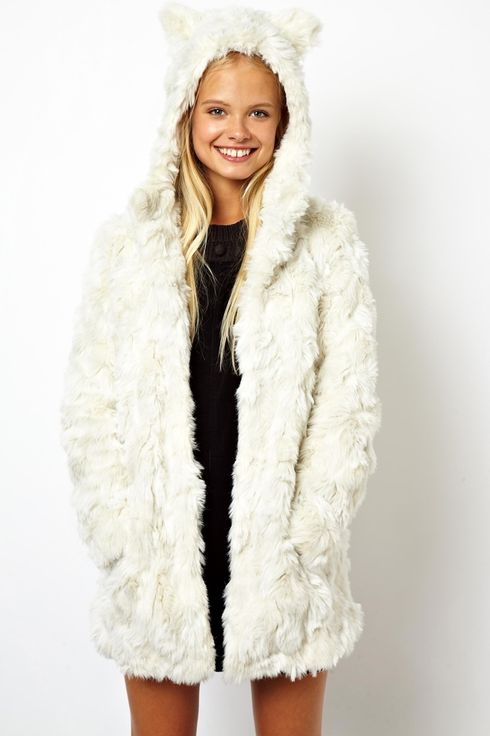 Curly Faux Fur Coat With Cat Ears