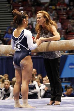 Former gymnast Taylor Alotta with coach Rachelle Thompson in 2014.