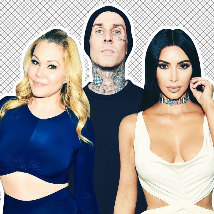 Shanna Moakler, Travis Barker, and Kim Kardashian.