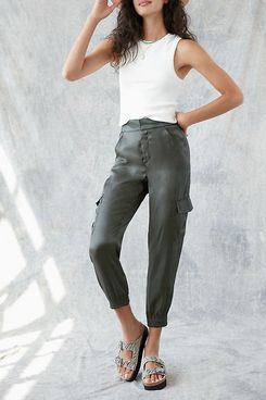 Anthropologie Shimmer Cargo Joggers