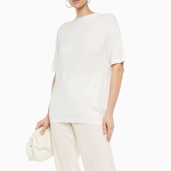 The Row Darcia merino wool and cashmere-blend top