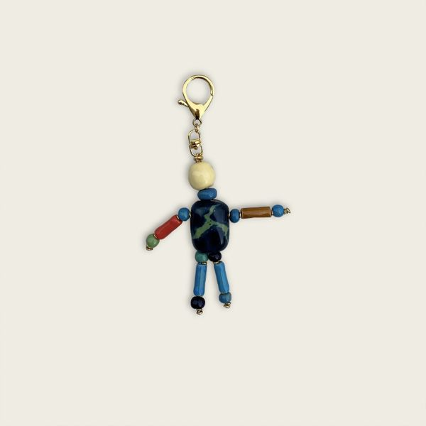 Dancing Keychain - Green Marbled and Yellow