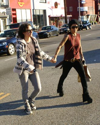Sara Gilbert spotted out and about in West Hollywood. The 'Roseanne' star exited RFD hand in hand with a tattooed female. <P> Pictured: Sara Gilbert <P> <B>Ref: SPL338365 271111 </B><BR/> Picture by: V. Labissiere / Splash News<BR/> </P><P> <B>Splash News and Pictures</B><BR/> Los Angeles:	310-821-2666<BR/> New York:	212-619-2666<BR/> London:	870-934-2666<BR/> photodesk@splashnews.com<BR/> </P>