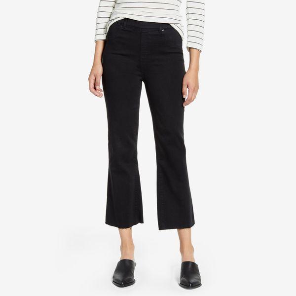 black spanx crop flare denim leggings - strategist nordstrom anniversary sale