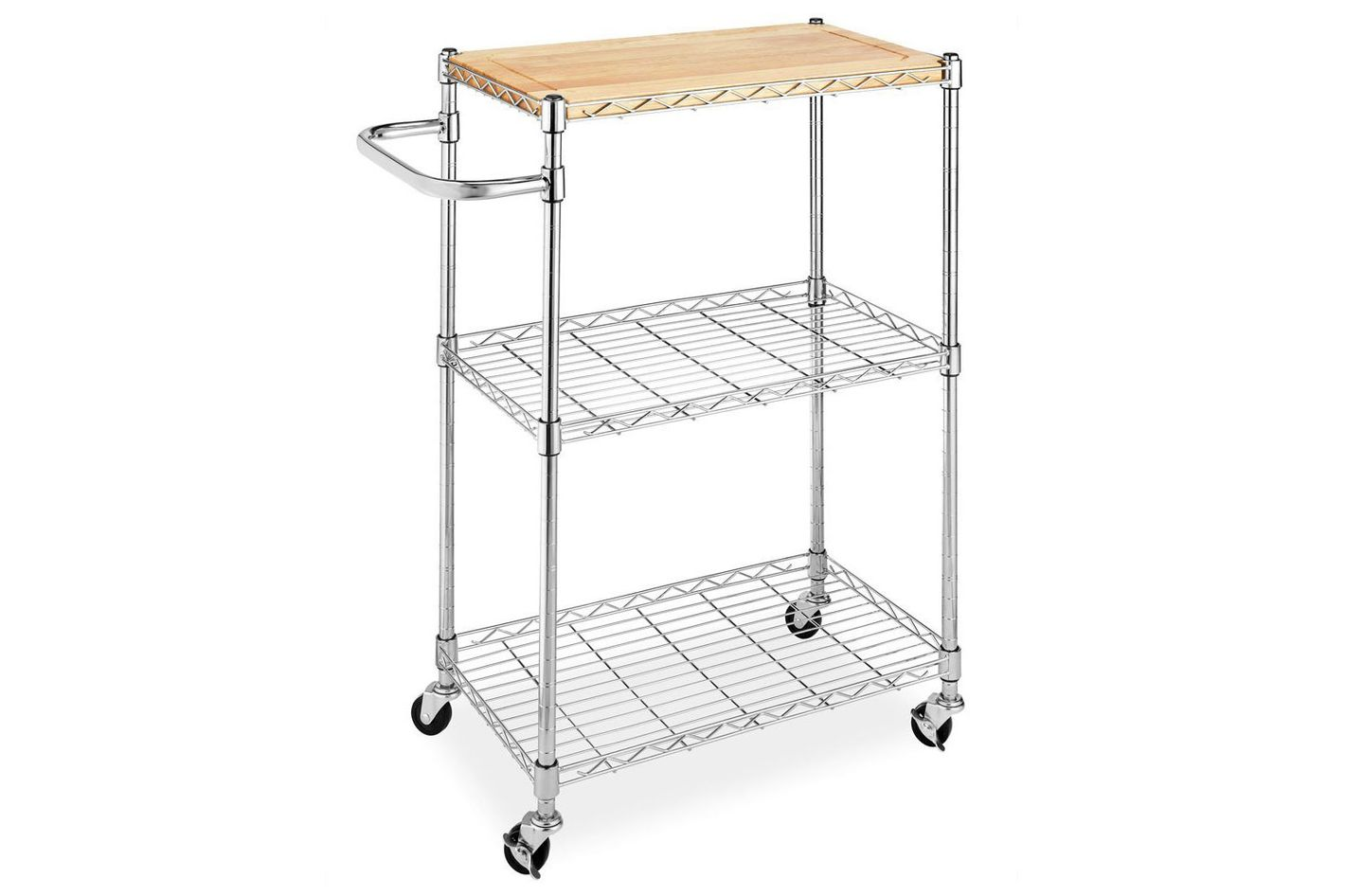 Best Metal Kitchen Cart With Removable Butcher Block. Whitmor Supreme Kitchen  Cart With Wheels, Wood And Chrome
