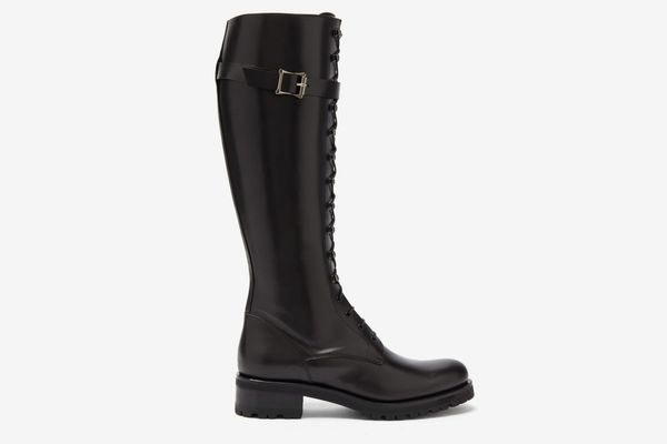 Rupert Sanderson Duncan Lace-Up Leather Knee-High Boots