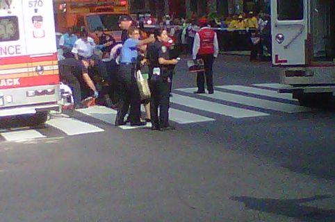 The scene on W. 33rd Street.