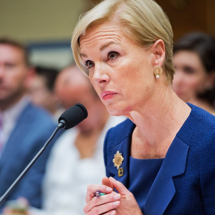 Planned Parenthood president Cecile Richards testifies at a congressional hearing yesterday.