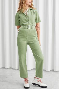 Corduroy Buckle Belt Jumpsuit