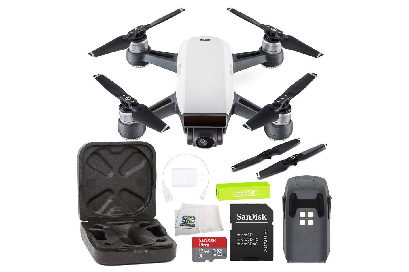 SSE DJI Spark Portable Mini Drone Quadcopter Starters Bundle (Alpine White)