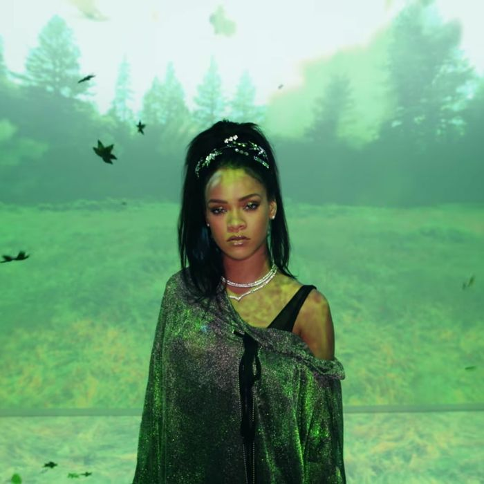 Rihanna wears an Isabel Hall look in her video.