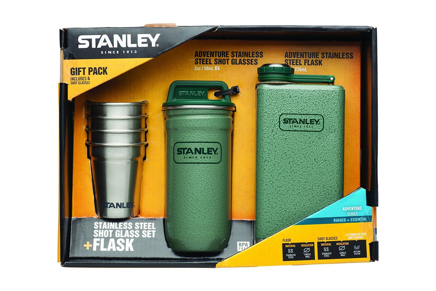 Stanley Stainless Steel Shots and Flask Gift Set