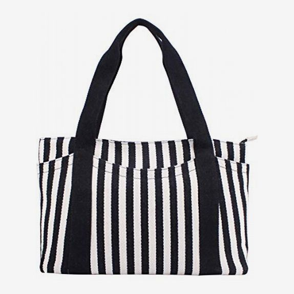 Canvas Tote Bag with Multiple Pockets/Zipper Closure