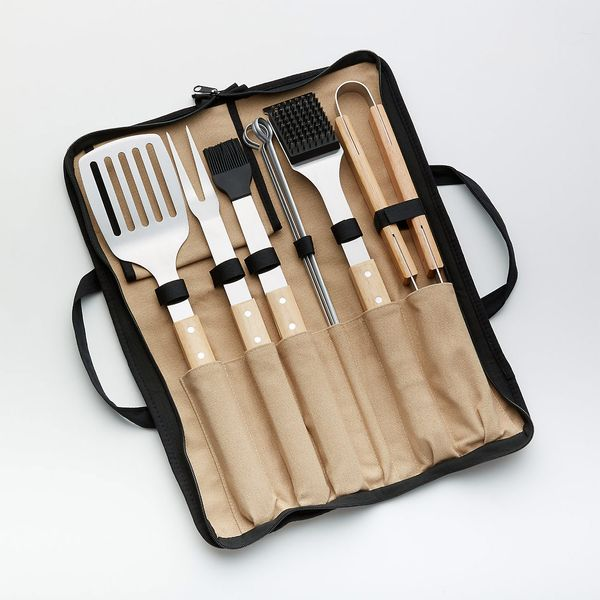 Crate & Barrel Wood-Handled 9-Piece Barbecue Tool Set