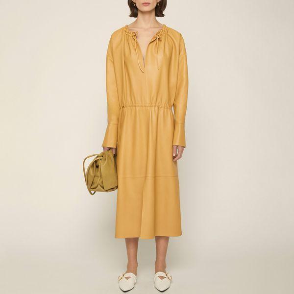 Aeron Pique Ruched Neck Midi Dress