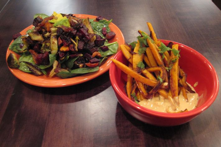 Salad and masala fries.