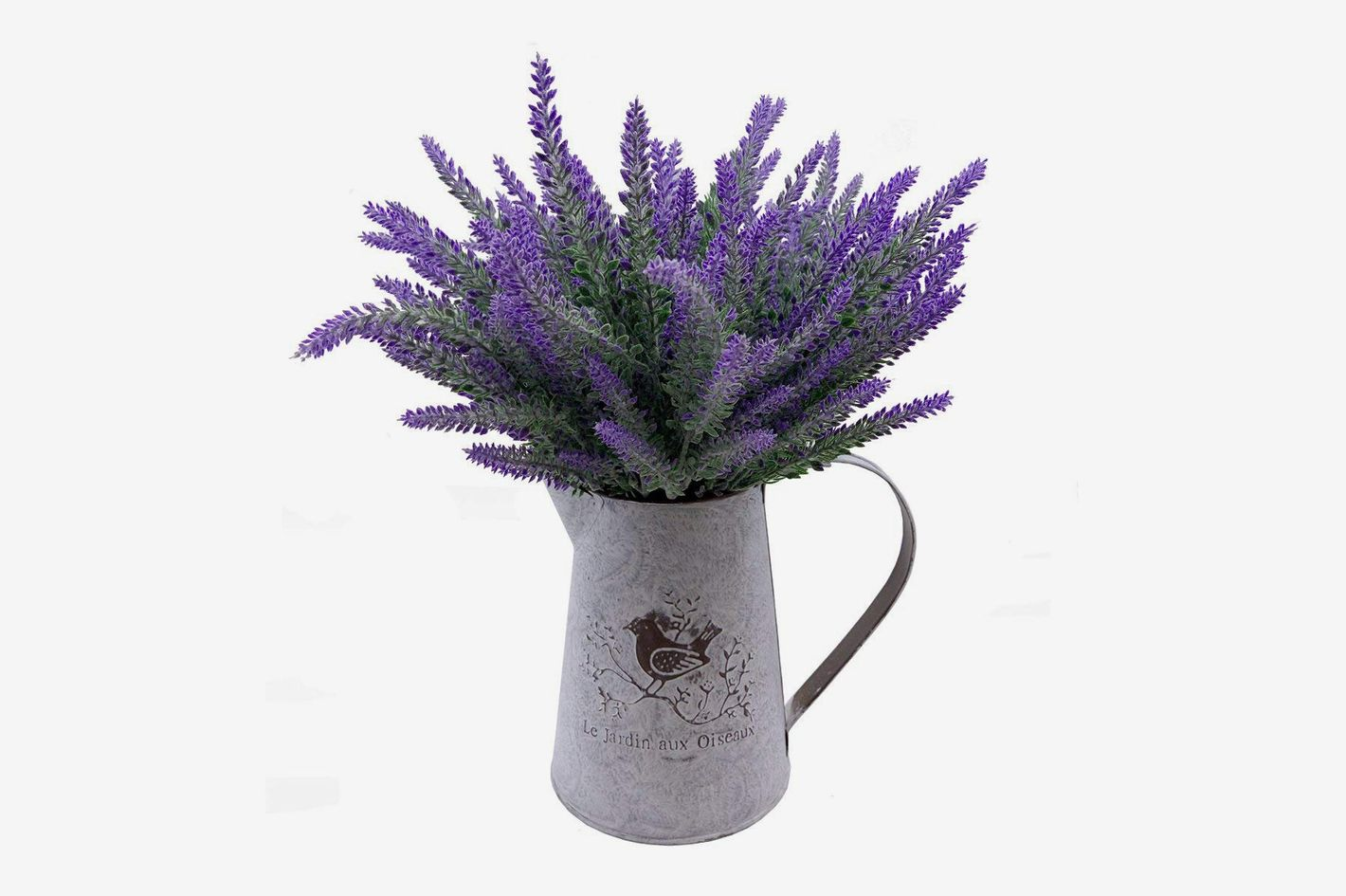 Vancore French Style Shabby Chic Vase Metal Pitcher With 6 Pcs Lavender Flowers