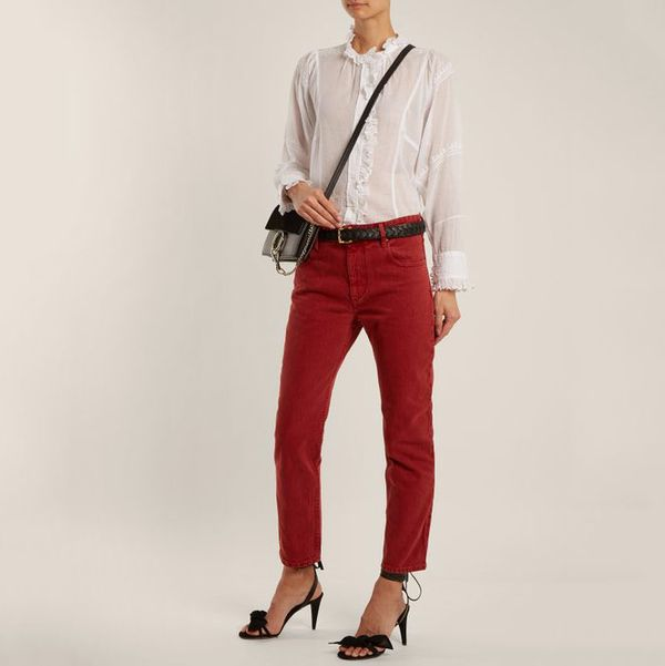 Isabel Marant Etoile Cliff High-Rise Straight-Leg Cropped Jeans- strategist best red straight leg slim fit jeans
